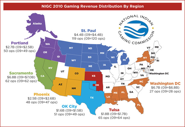 Casinos By State Map National Indian Gaming Map of the U.S. ! | Jetsetting Magazine